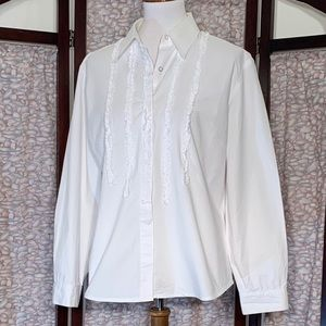 Peter Martin white tuxedo styled button down shirt